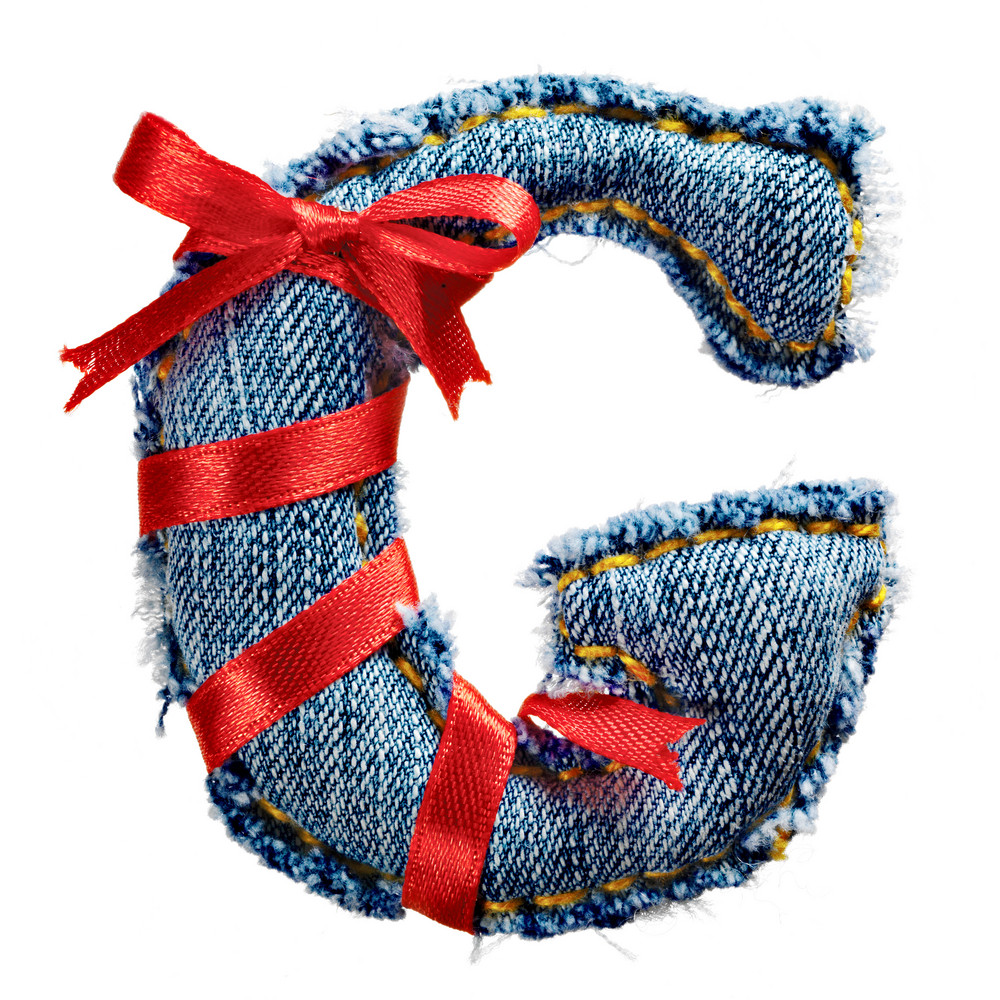 Magic holiday jeans alphabet letter G with red ribbon