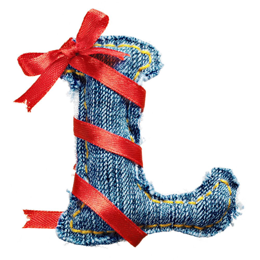 Magic holiday jeans alphabet letter L with red ribbon