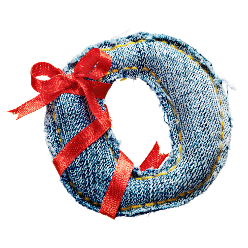 Magic holiday jeans alphabet letter O with red ribbon