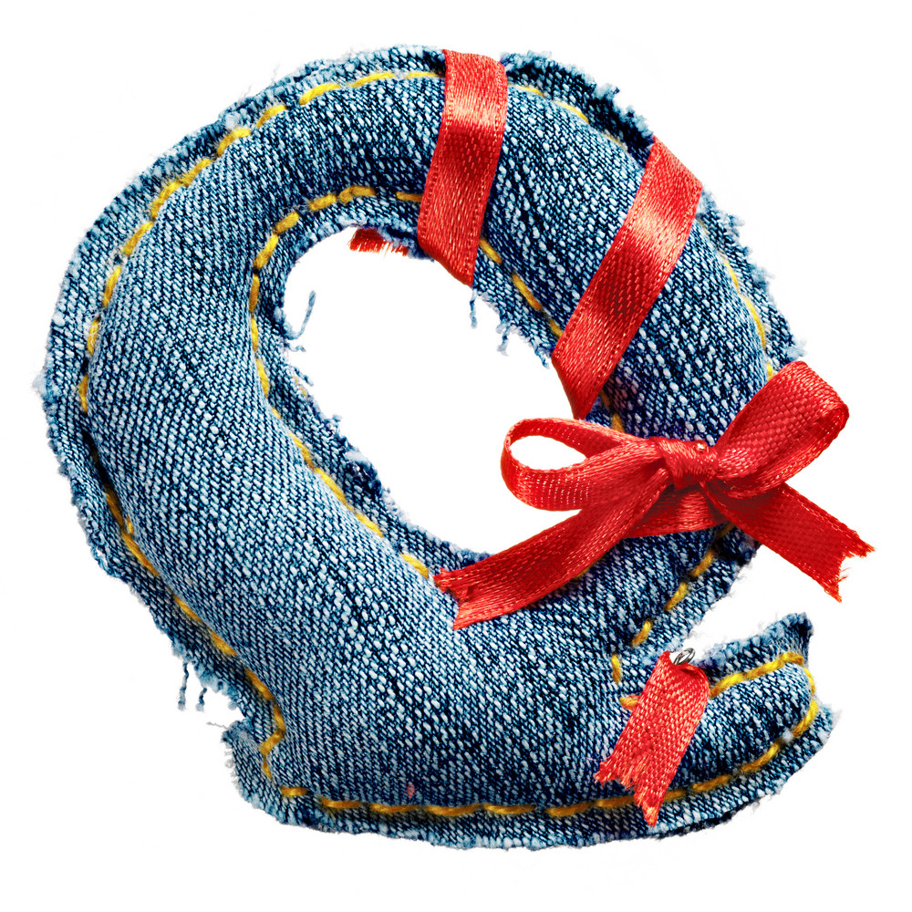 Magic holiday jeans alphabet letter Q with red ribbon