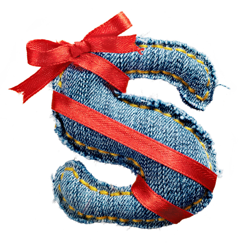 Magic holiday jeans alphabet letter S with red ribbon