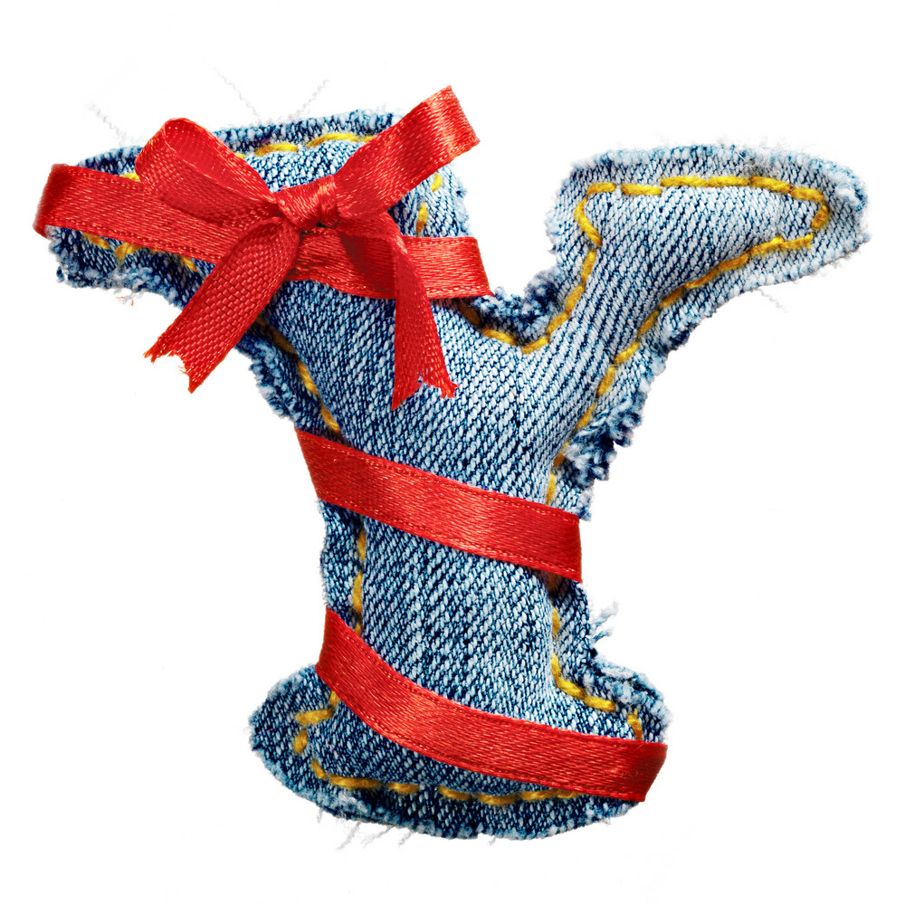 Magic holiday jeans alphabet letter Y with red ribbon