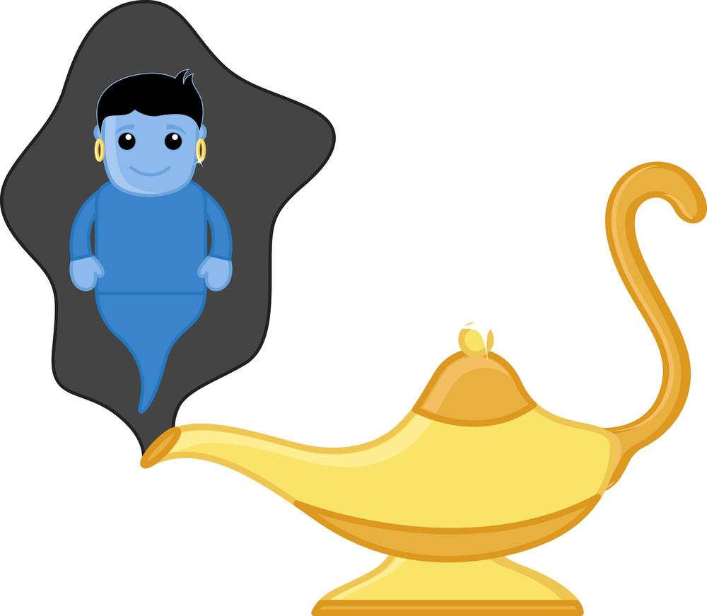 Magic Lamp Genie - Vector Character Cartoon Illustration