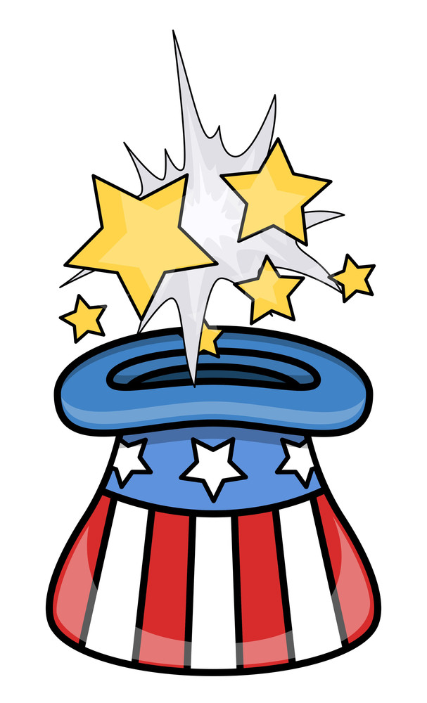 Magical Uncle Sam Hat  4th Of July Vector Illustration