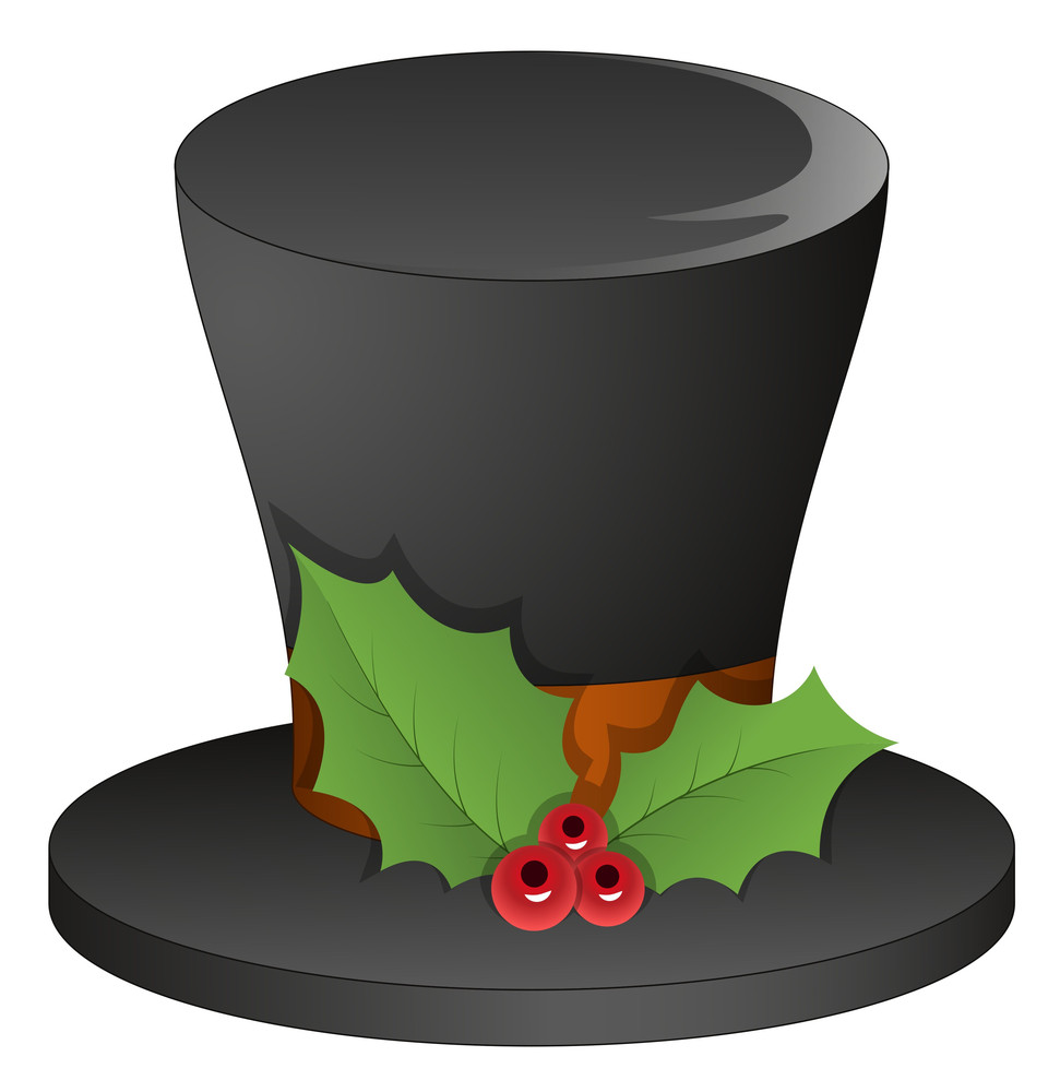 Magician Hat With Holy Leaves - Christmas Vector Illustration