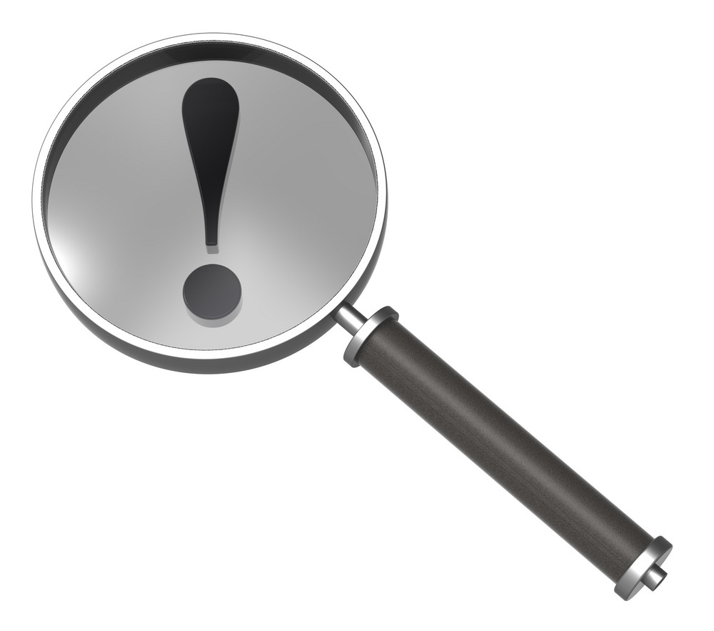 Magnifier With Exclamation Sign Isolated On White.