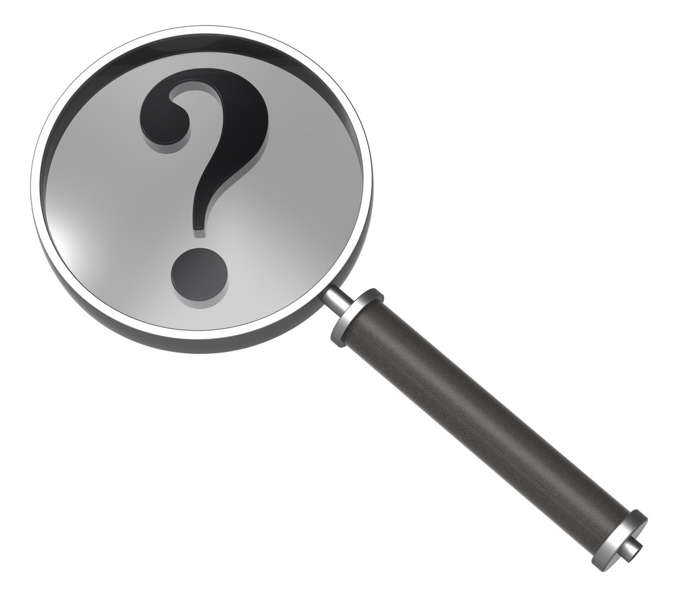 Magnifier With Question Mark Isolated On White.