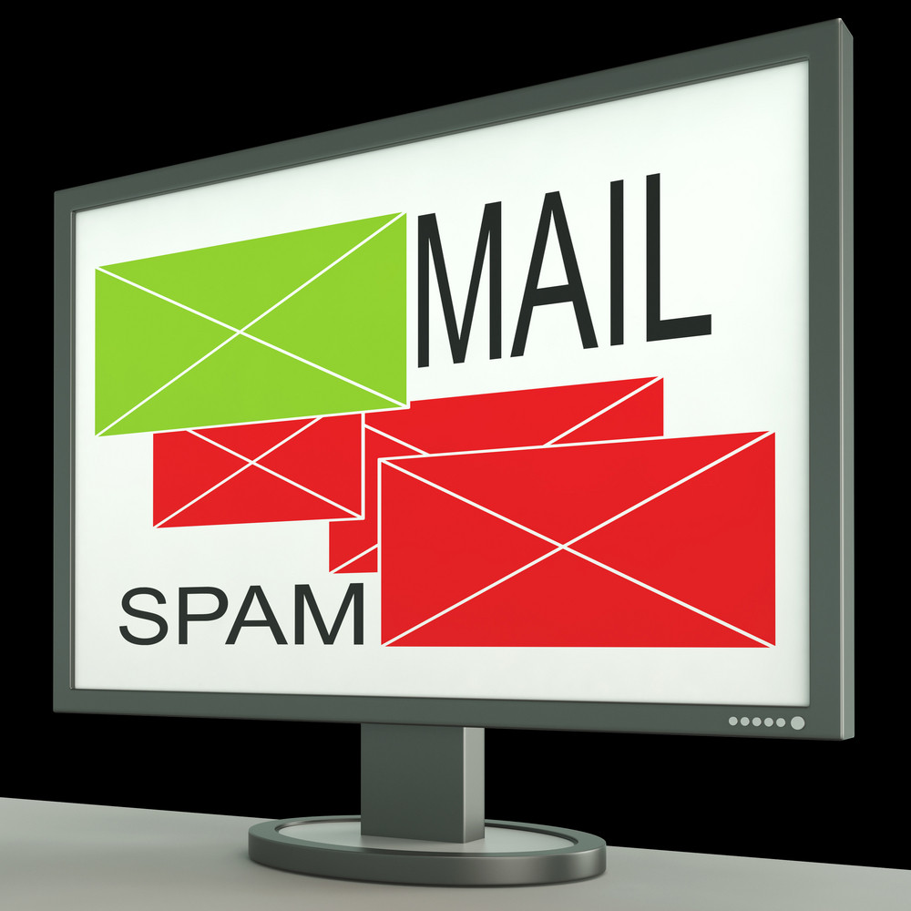 Mail And Spam Envelopes On Monitor Showing Rejected