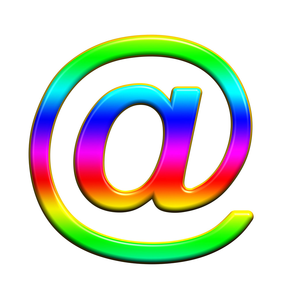 Mail Sign From Rainbow Alphabet Set, Isolated On White