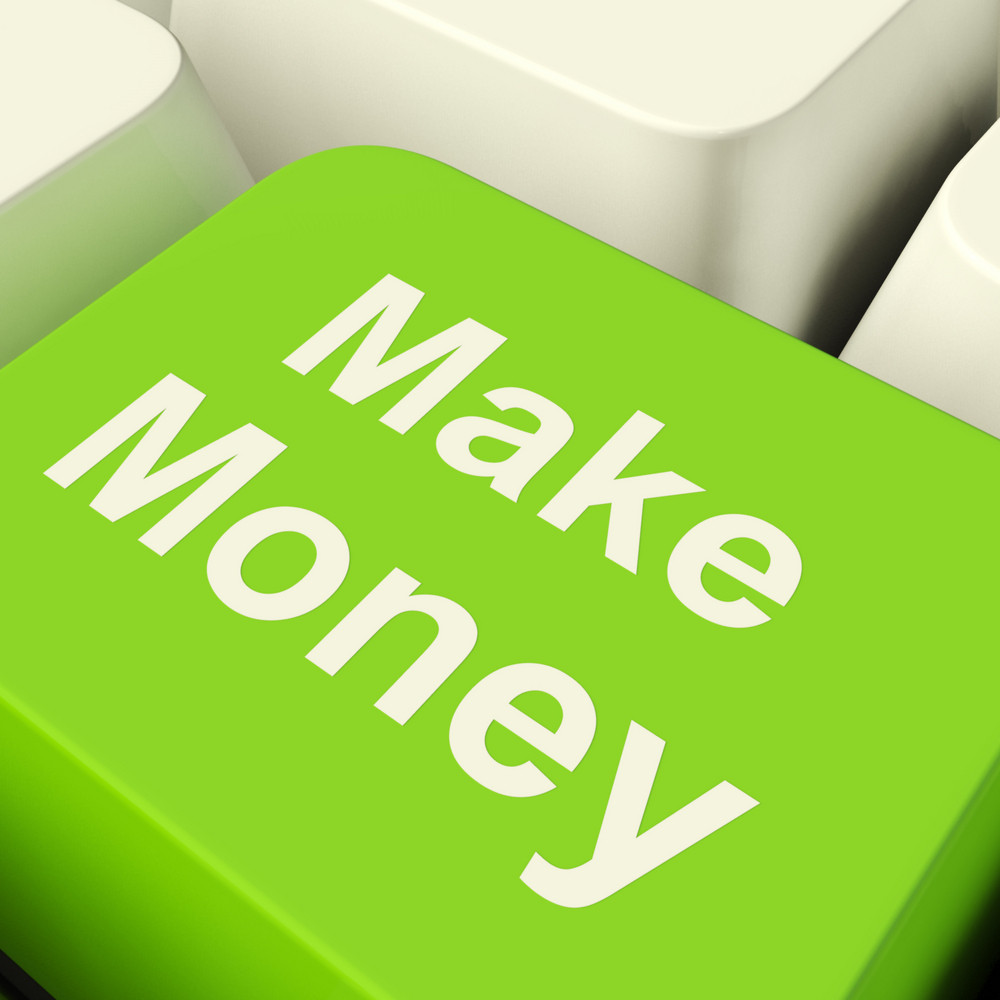 Make Money Computer Key In Green Showing Startup Business And Wealth