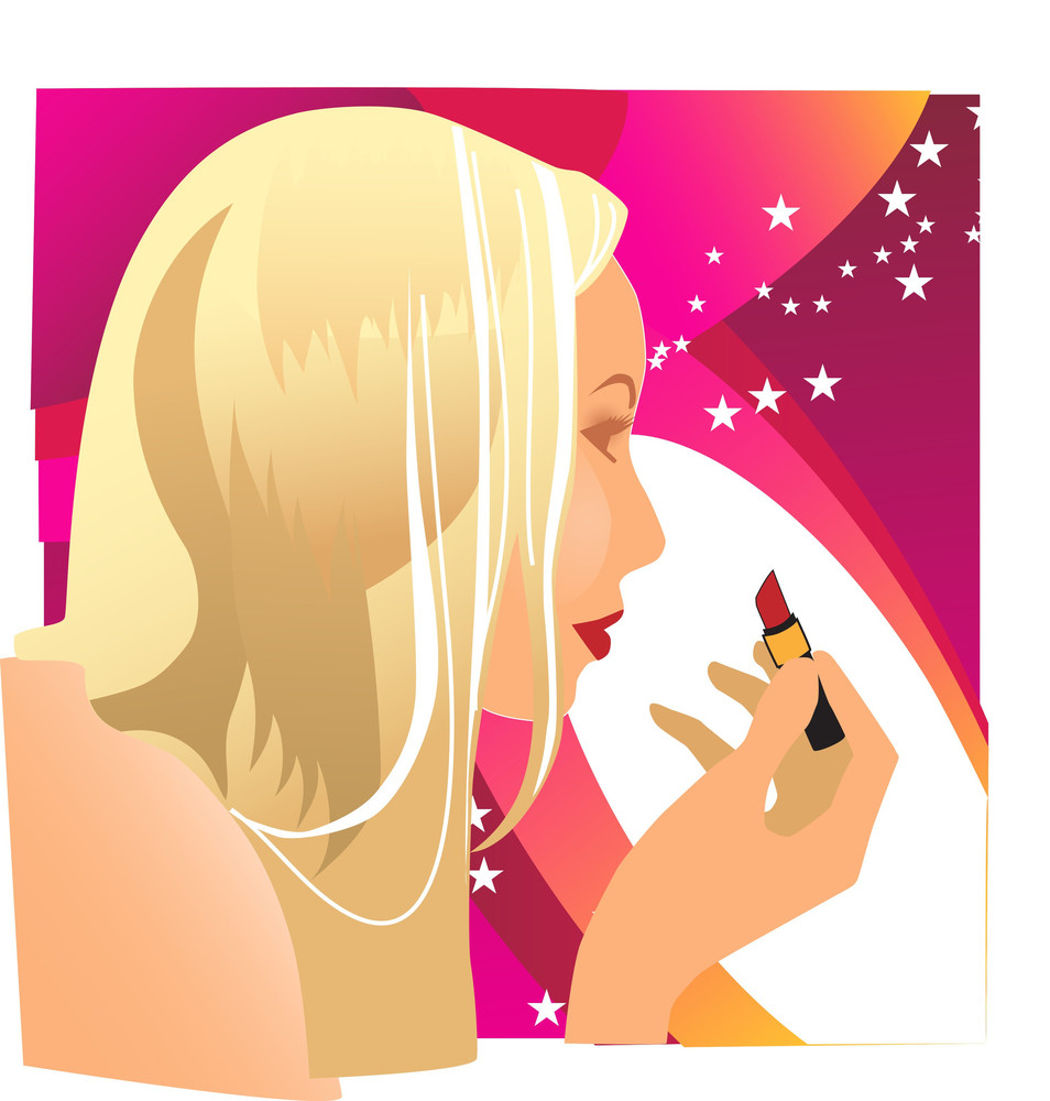 Make-up Vector. Woman And Red Lipstick