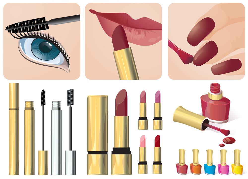 Makeup Signs And Accessories. Vector.
