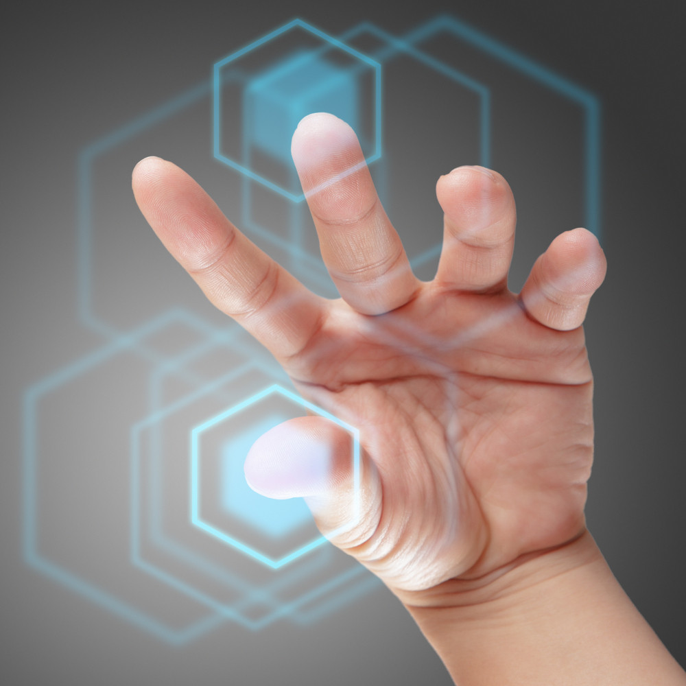 Male Hand Working On Touch Screen Interface