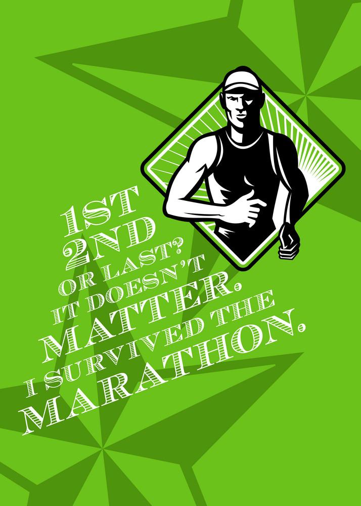 Male Marathon Runner Retro Poster
