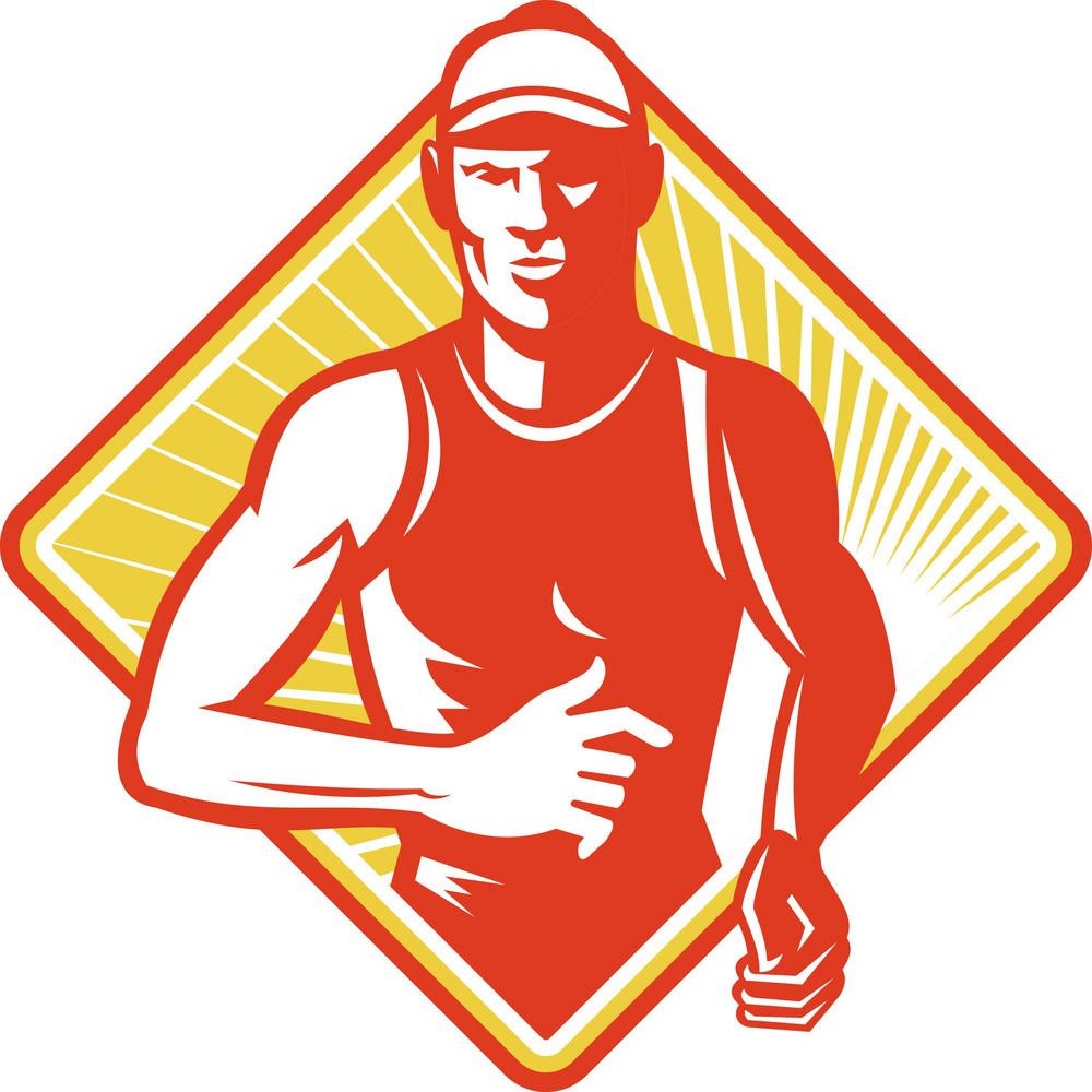 Male Marathon Runner Running Retro Woodcut