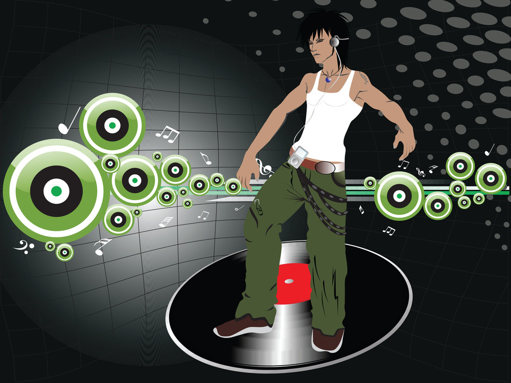 Male Silhouette Dancer On Disco Background With Speaker