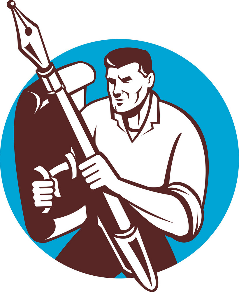 Male Writer Journalist Pen Paper Shield