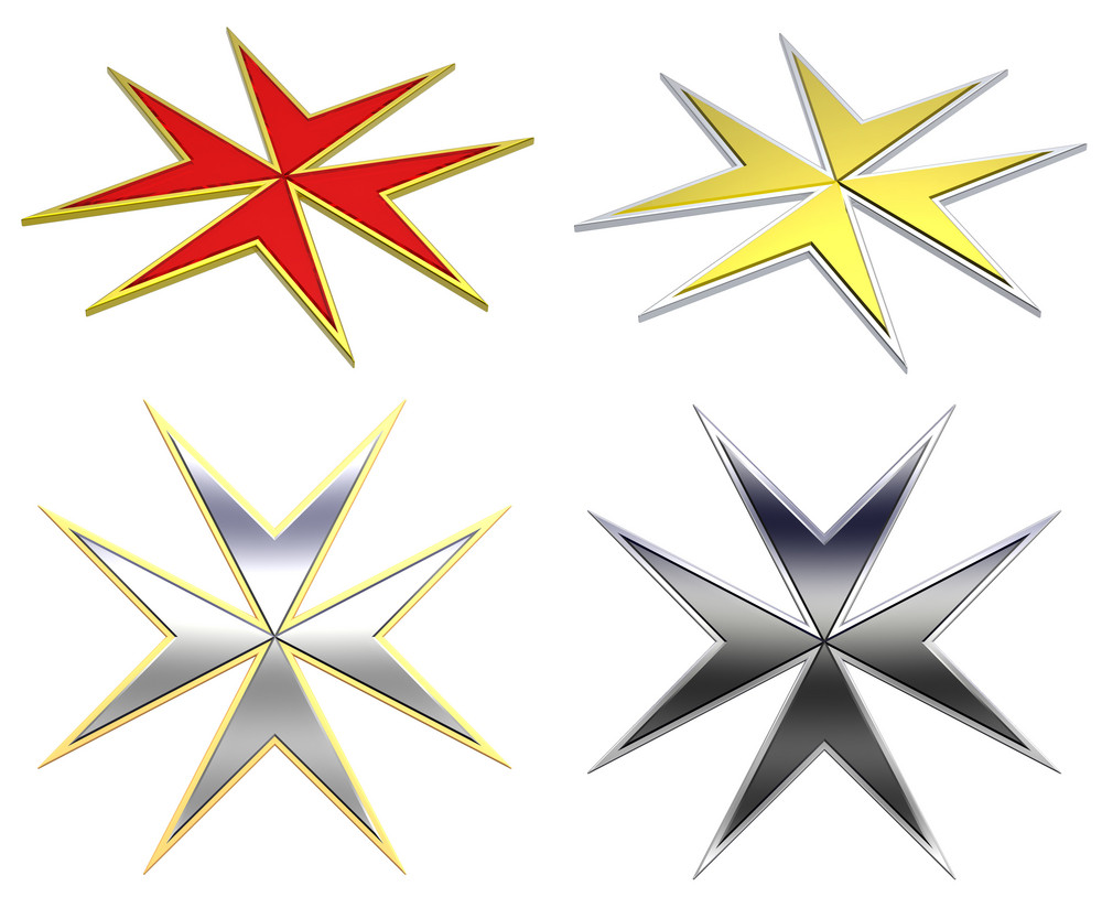 Maltese Cross Set Isolated On White.