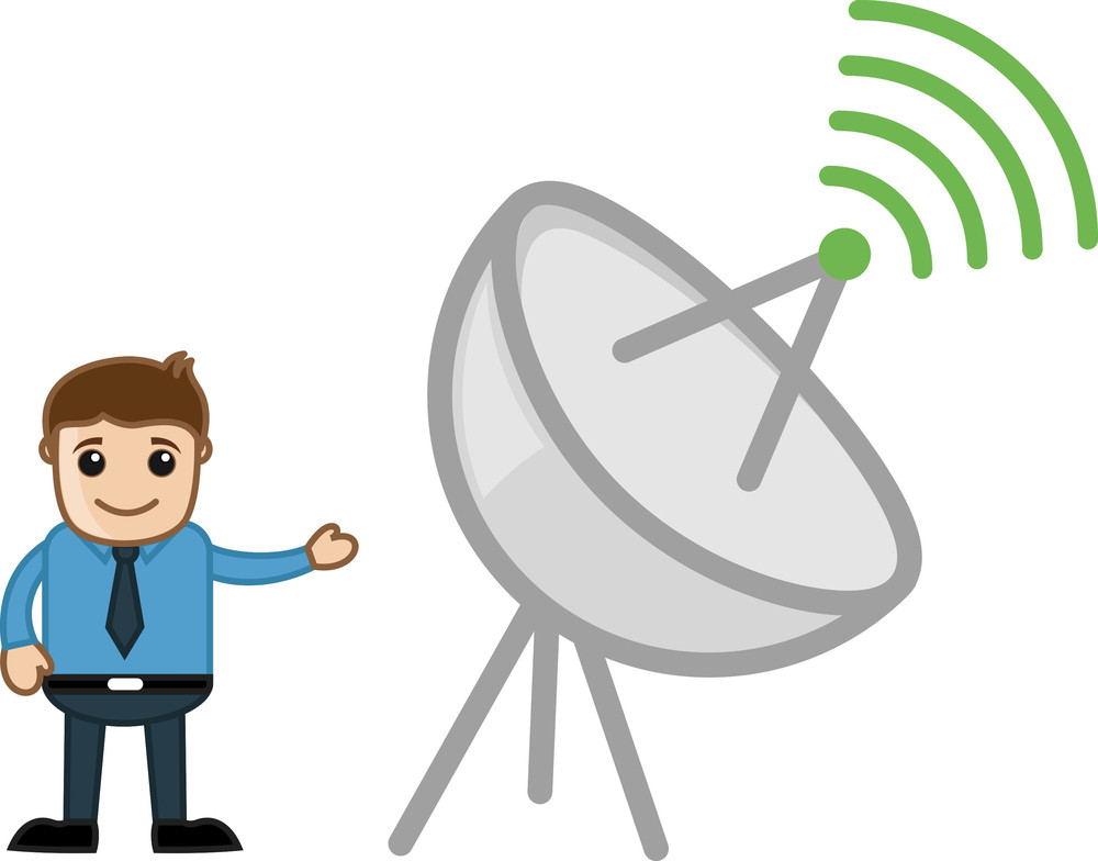 Man And Internet Broadcast Antina - Vector Illustration