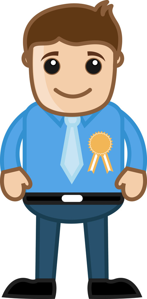 Man Awarded With A Badge - Business Cartoon