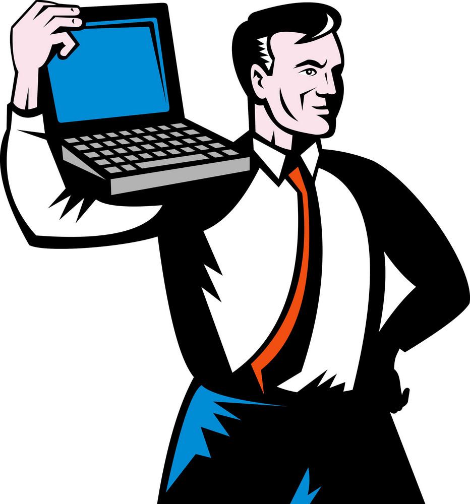 Man Carrying Computer Notebook Laptop