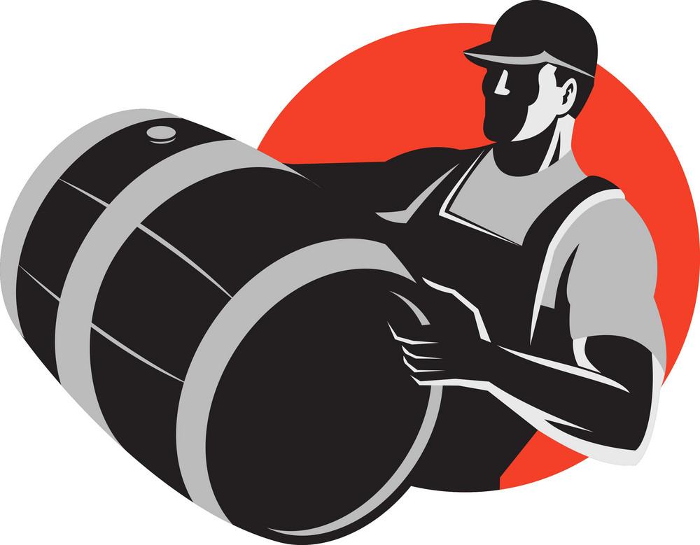 Man Carrying Wine Barrel Cask Keg Retro