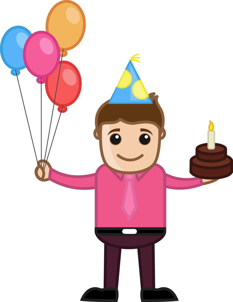 Man Celebration With Cake And Balloons - Cartoon Business Character