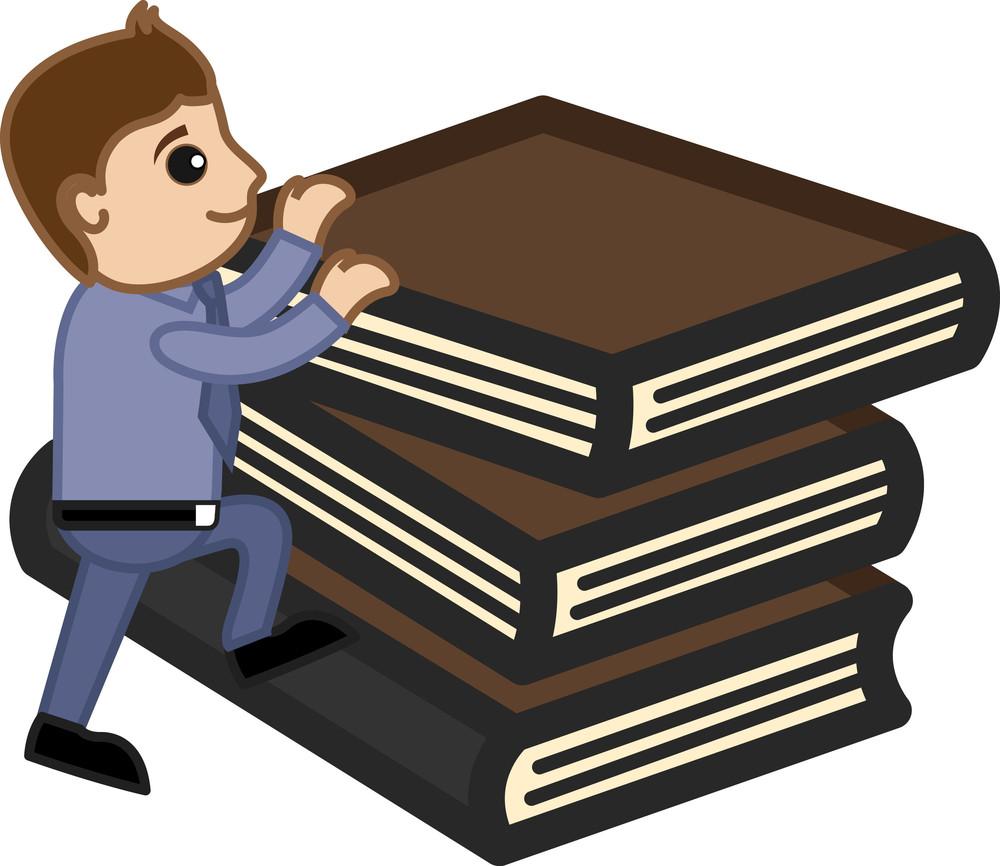 Man Climbing On Books - Vector Character Cartoon Illustration
