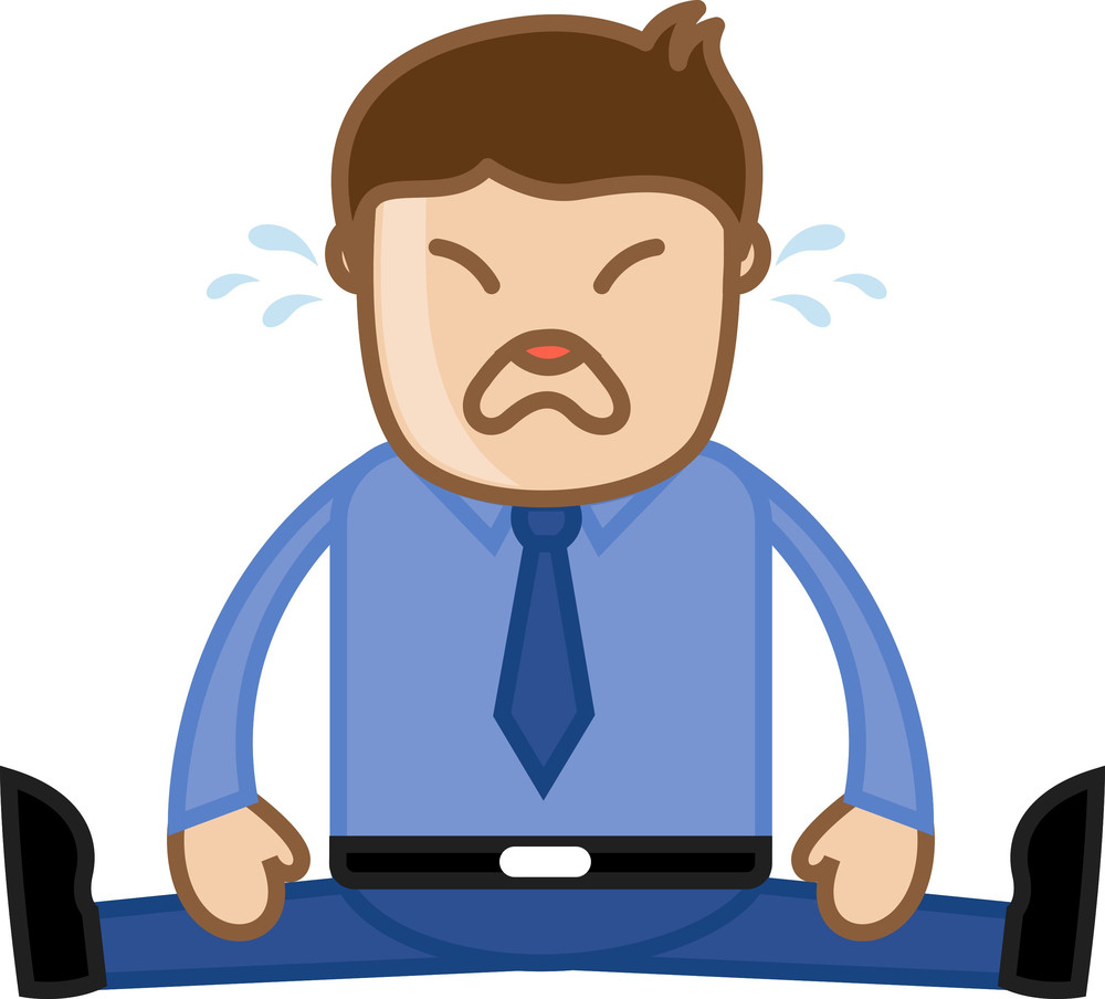 Man Crying - Deadlines Concept - Office Corporate Cartoon People