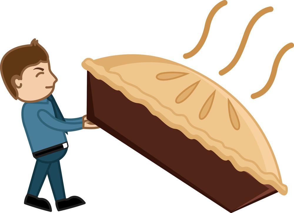 Man Dragging A Large Pan Cake - Cartoon Vector