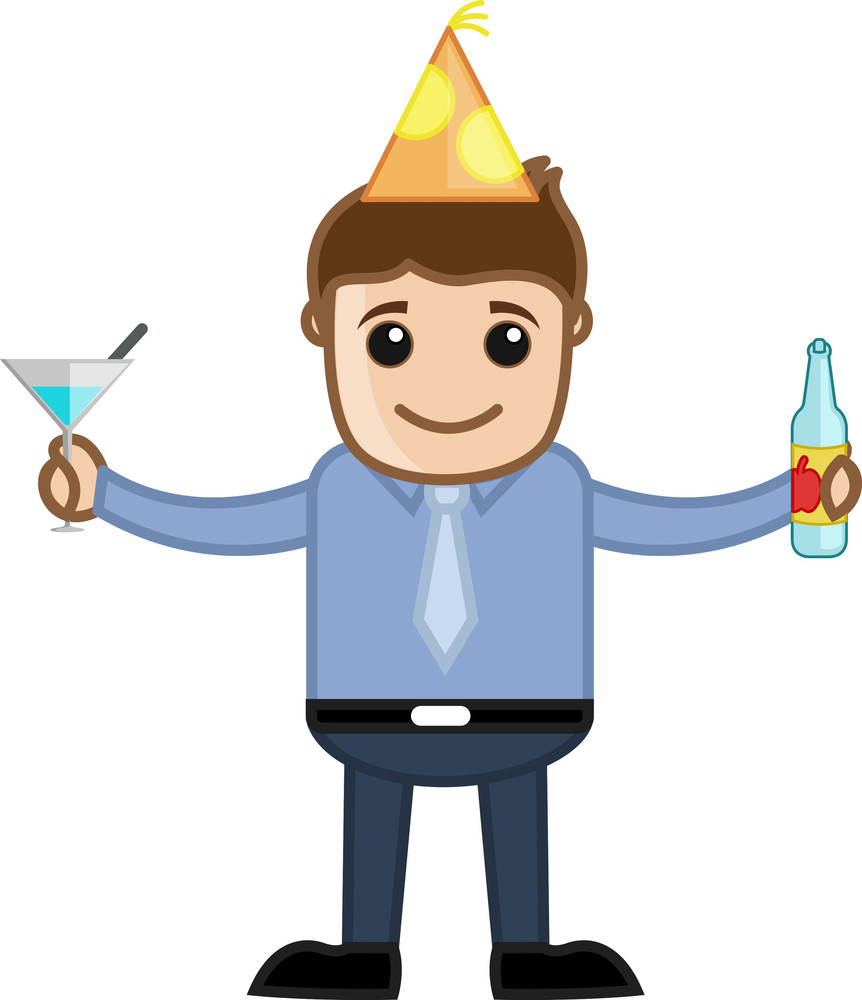Man Drinking Wine In Party - Cartoon Business Character