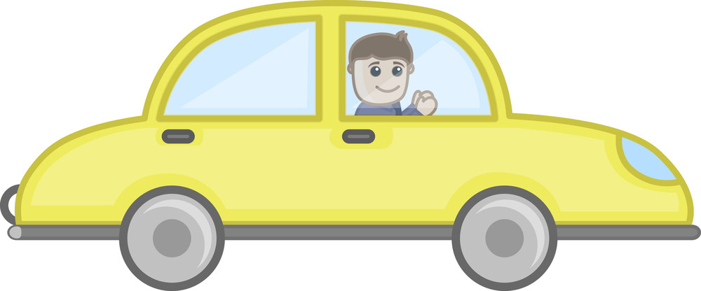 Man Driving Car - Vector Character Cartoon Illustration