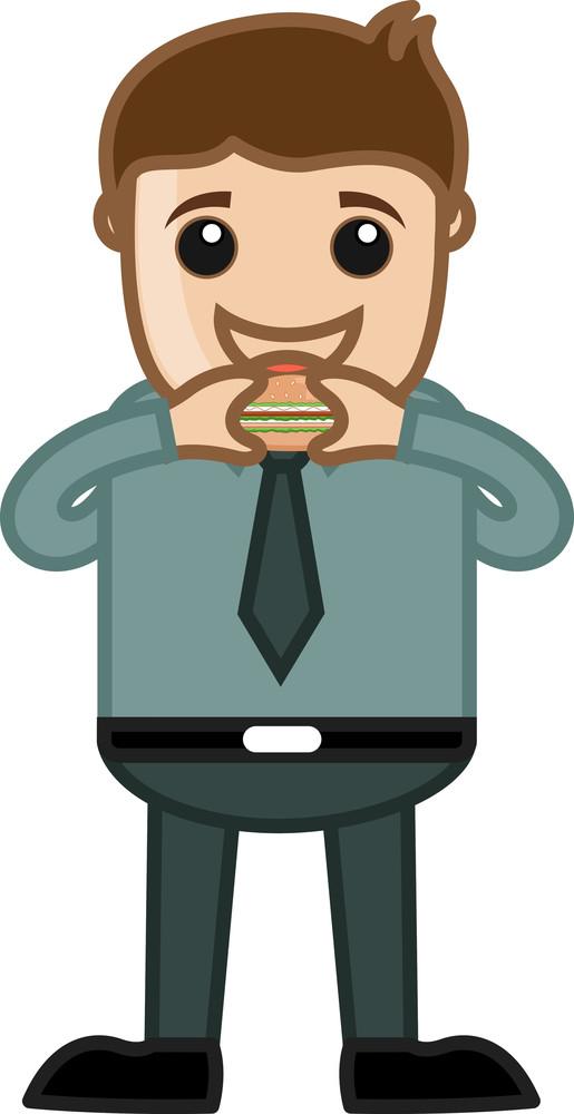 Man Eating Burger Vector