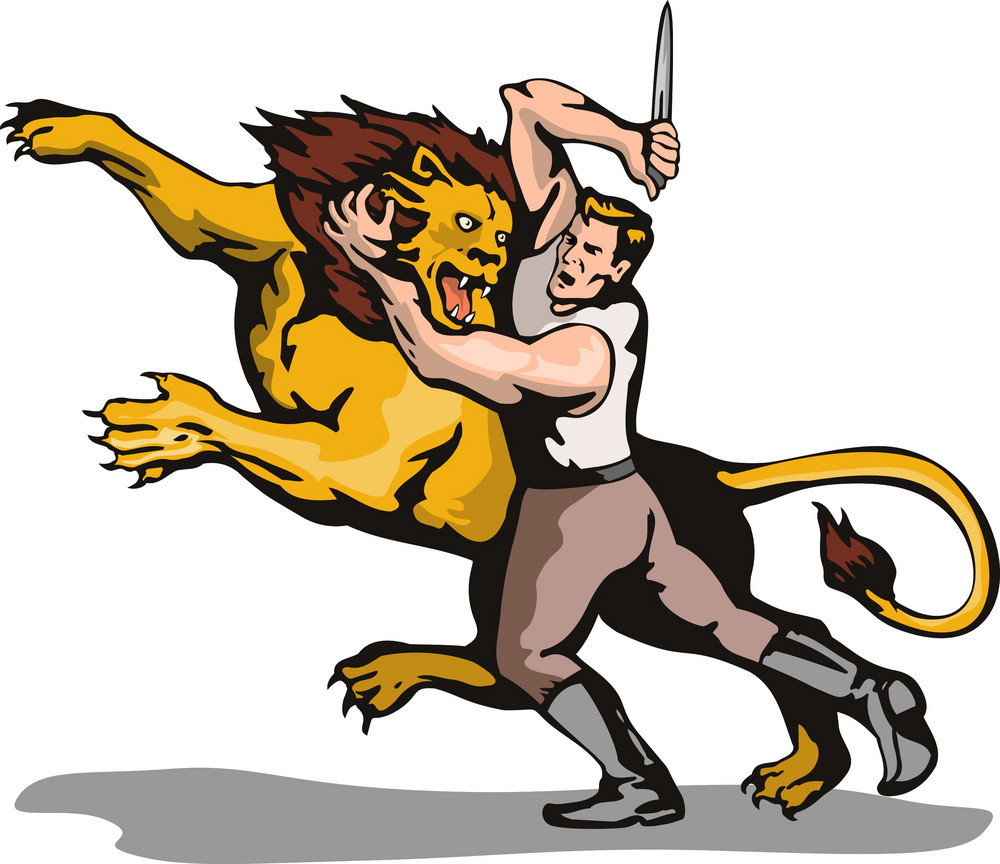 Man Fighting Lion Retro