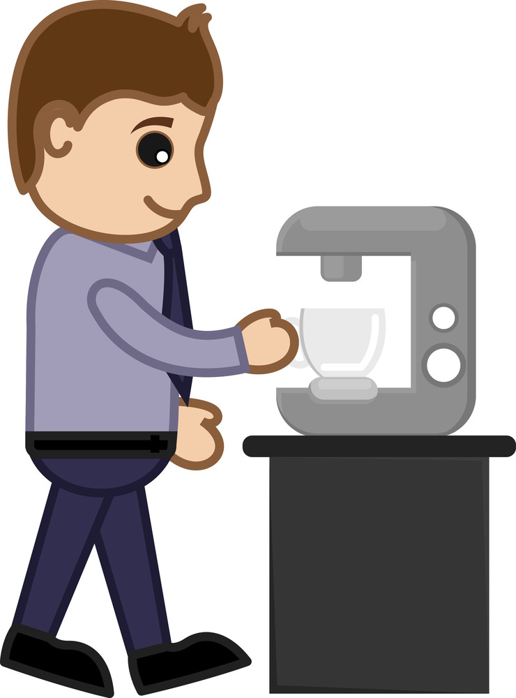 Man Getting Coffee From Coffee Machine - Vector Illustration