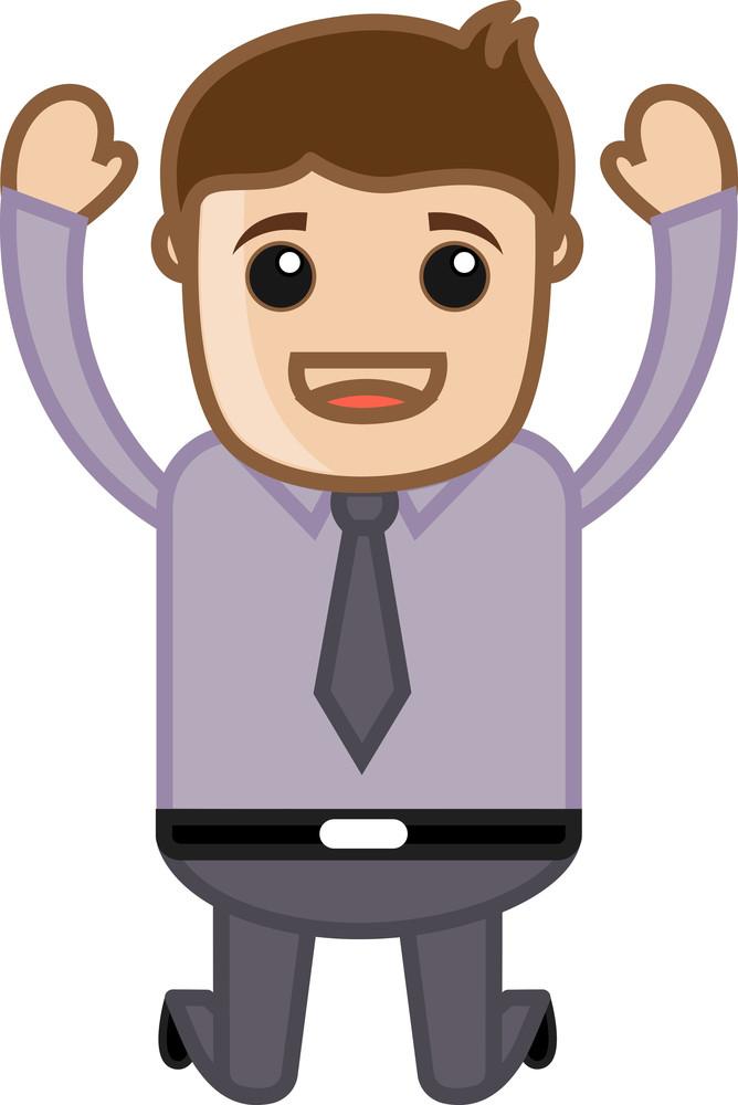 Man Got Successs - Office Corporate Cartoon People