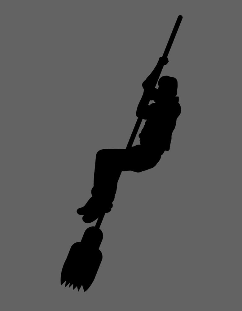 Man Hanging On Broomstick Shape
