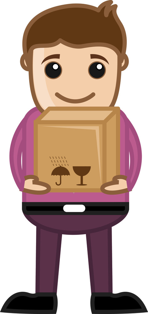 Man Having Delivery Box - Business Cartoon Character Vector