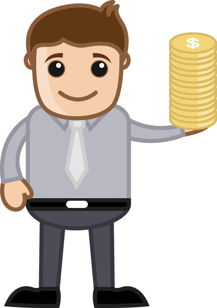 Man Having Gold Coin - Finance Concept - Business Cartoon Character Vector
