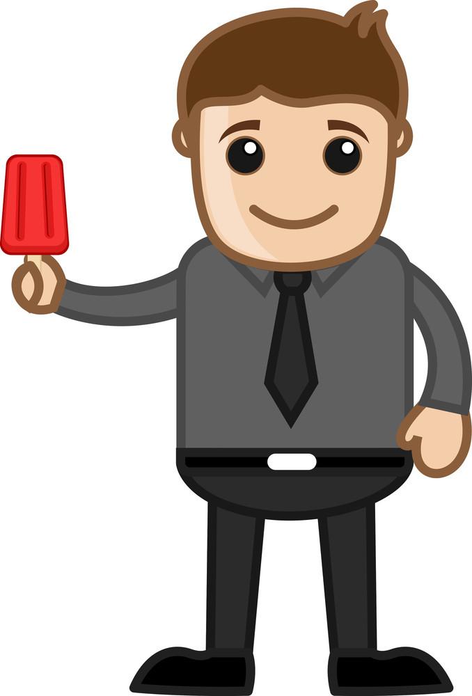 Man Having Icecream - Cartoon Business Vector Character