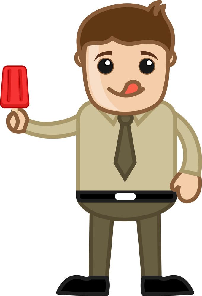 Man Having Lolly Icecream - Cartoon Business Vector Character