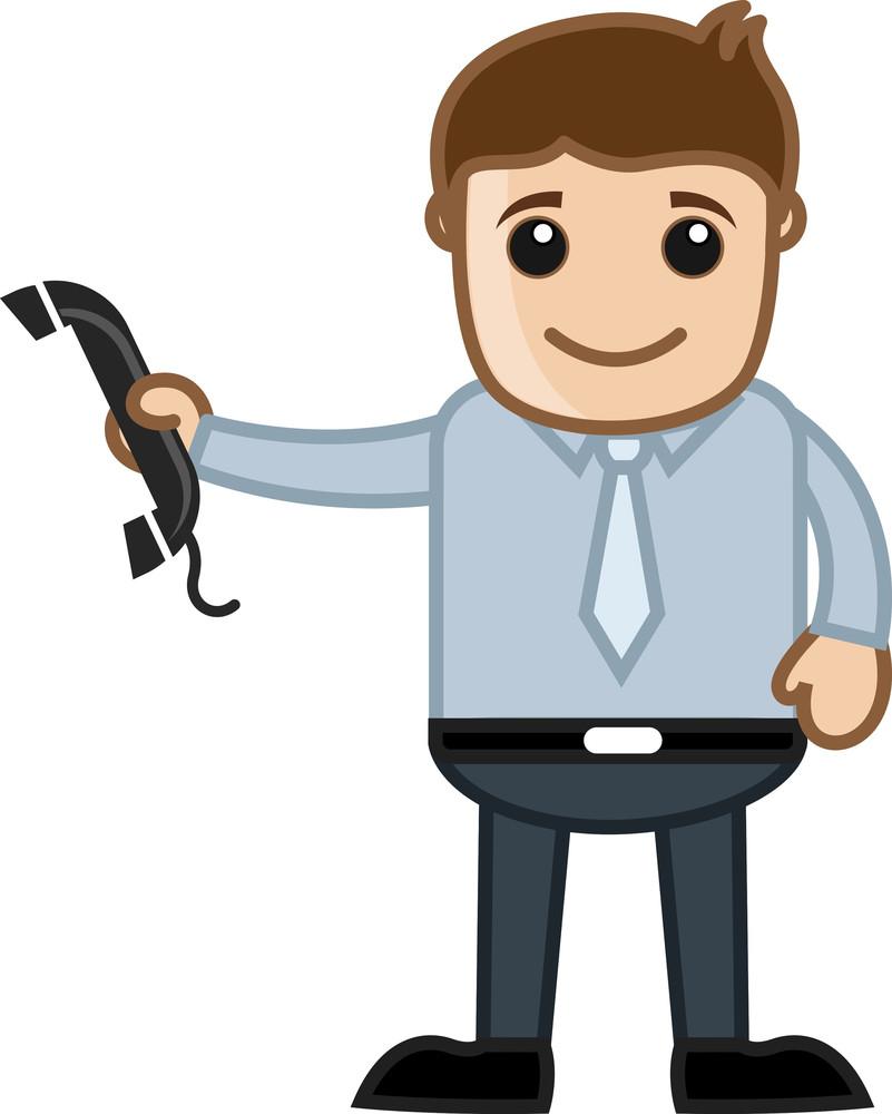 Man Having Phone Receiver - Vector Illustration