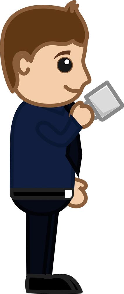 Man Having Tea - Cartoon Business Vector Character