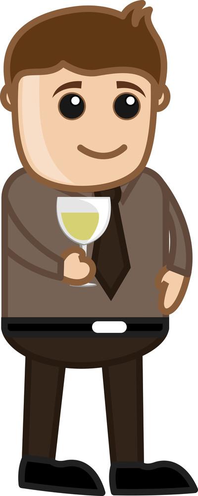 Man Having Wine - Cartoon Business Vector Character