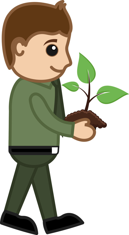 Man Holding A Baby Plant - Cartoon Character Vector