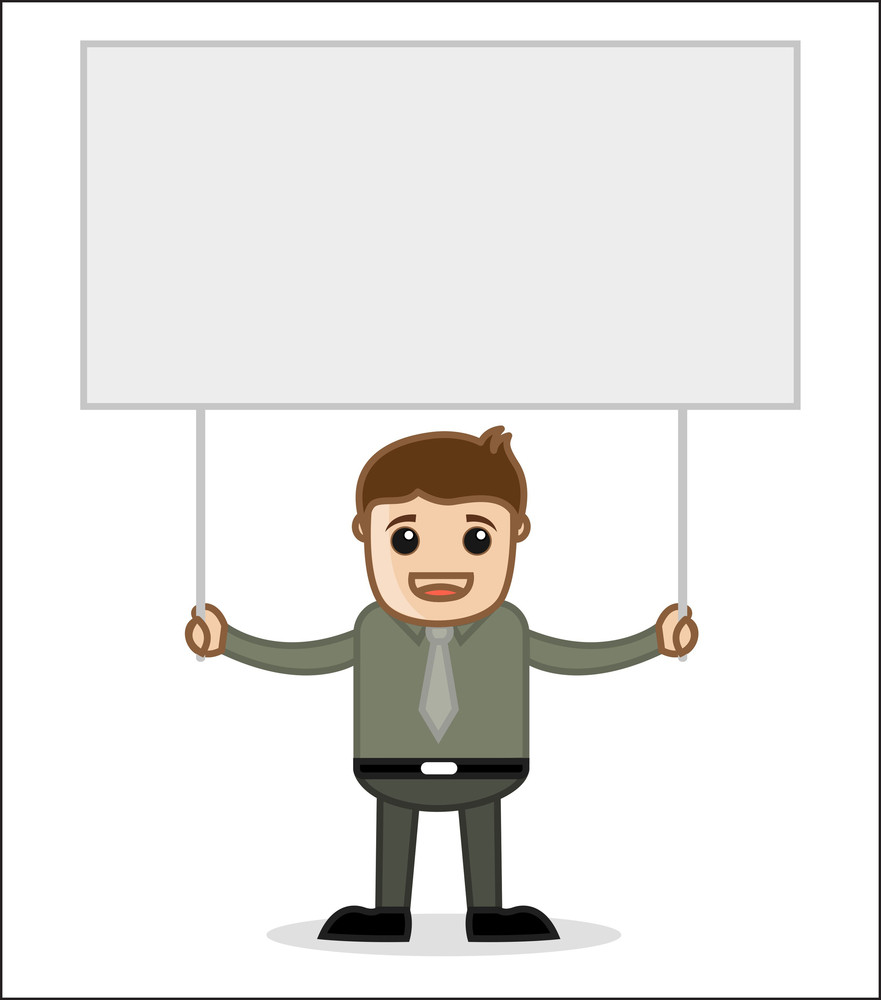Man Holding A Banner - Office And Business People Cartoon Character Vector Illustration Concept