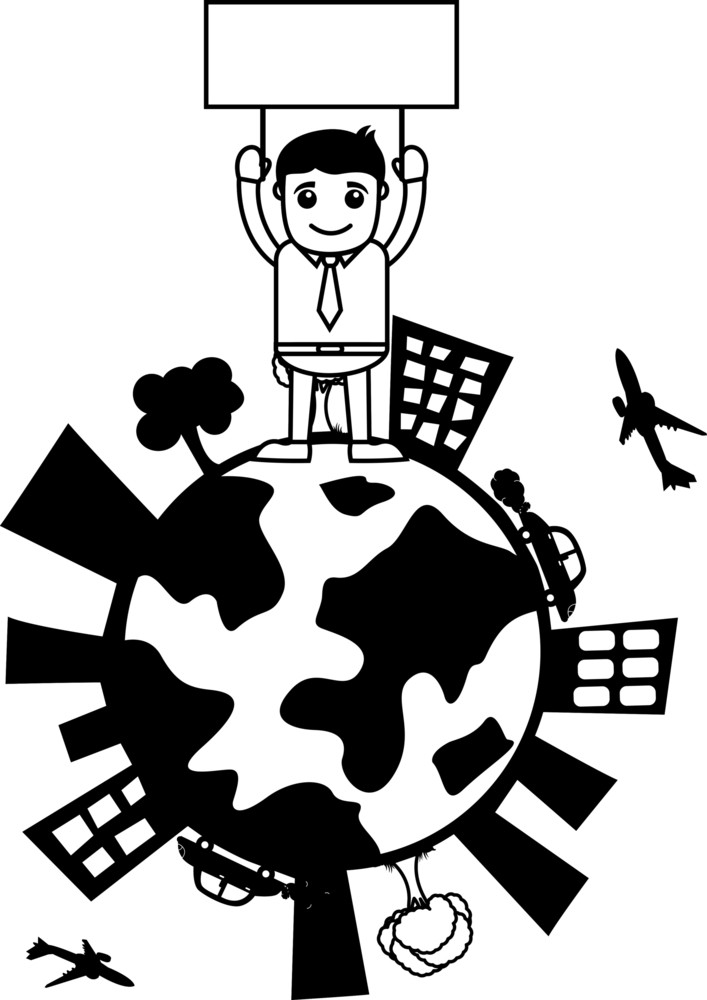 Man Holding A Banner On Earth Icon