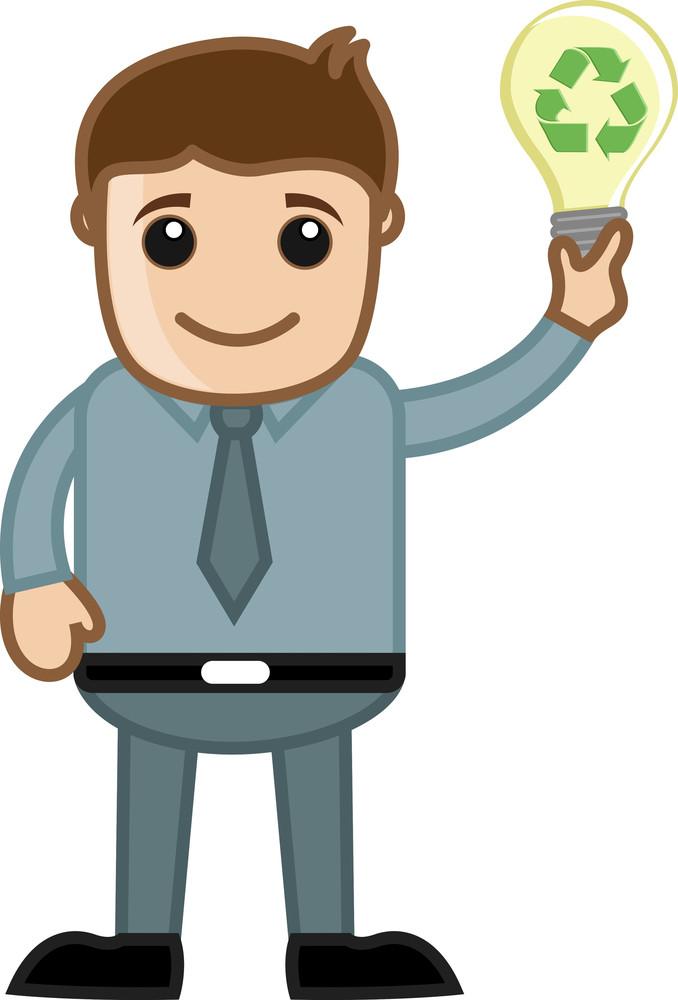Man Holding A Bulb Having Recycling Idea Concept