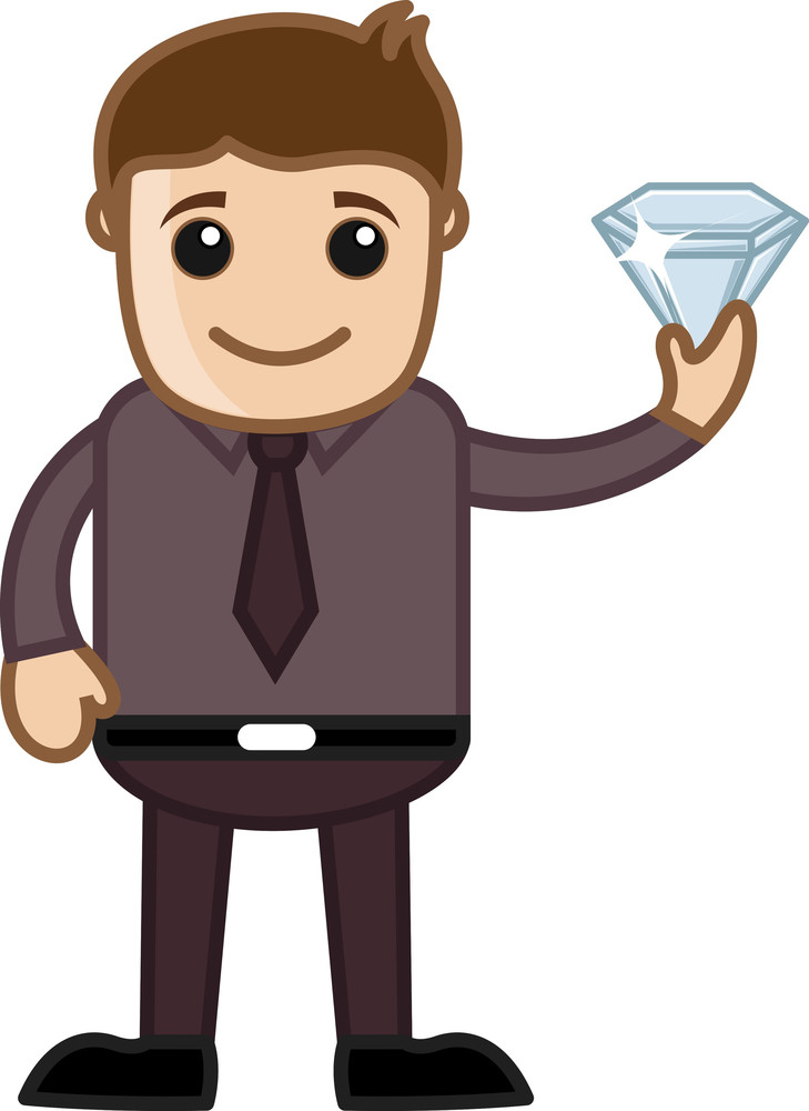 Man Holding A Gem Stone - Cartoon Character Vector