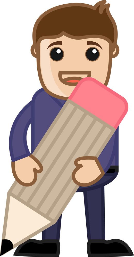 Man Holding A Pencil - Cartoon Office Vector Illustration